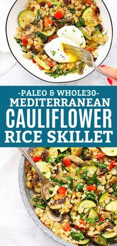 Mediterranean Cauliflower Rice Skillet - Great for Meal Prep! Mediterranean Cauliflower Rice Skillet (with Video! Healthy Rice Recipes, Vegetarian Recipes, Cooking Recipes, Gf Recipes, Paleo Cauliflower Recipes, Cauliflower Fritters, Riced Cauliflower, Dinner Recipes, Restaurant Recipes