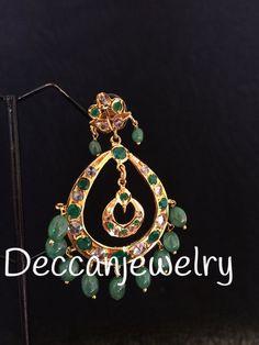Naaz Hyderabadi Chandbali in emeralds - Deccan Pearls and Jewellery Moroccan Jewelry, Indian Jewelry, Gold Earrings, Gold Jewelry, Jewellery, 7 11 Day, Ear Rings, Emeralds, Plating