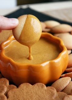 Pumpkin Dip with Ginger Snap Cookies. If you don't have a ceramic pumpkin serving dish, hollow out a real mini one.