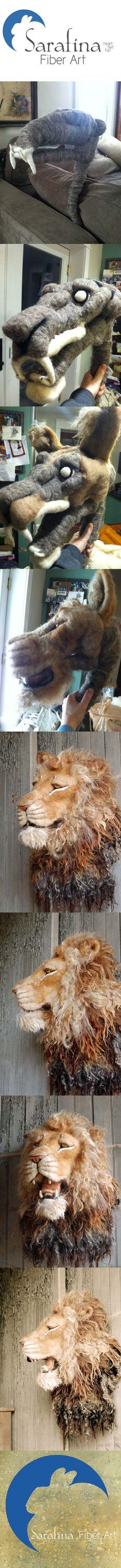 Needle Felted Lion Progression