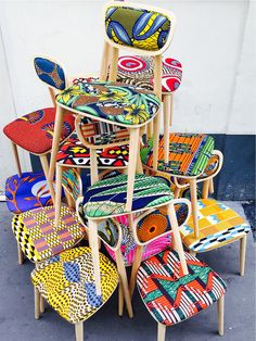 Deco wax : le tissu africain colore la maison - Clem Around The Corner Ethno Design, African Home Decor, African Fabric, African Prints, Ankara Fabric, African Design, African Interior Design, Deco Design, Diy Furniture