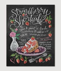 Pull up a checkered blanket and settle in the grass - it's time to enjoy a slice of creamy, light, strawberry goodness. ♥ Our fine art chalkboard prints will br