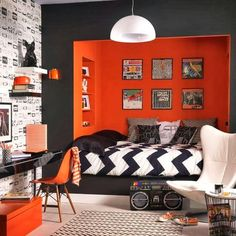 Teen boy bedroom decor cool bedroom designs for teenagers boys teen bedroom decorating ideas awesome teen Orange Rooms, Bedroom Orange, White Bedroom, Monochrome Bedroom, Rock Bedroom, Charcoal Bedroom, Funky Bedroom, Orange Walls, Trendy Bedroom
