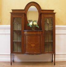 Antique English Mahogany Edwardian Inlaid China Cabinet Display Etagere.