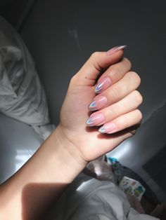 Related posts:Long nails with gold glitterLovely burgundy nailsLight blue and pink nails with sweet details Hot Nails, Pink Nails, Hair And Nails, Pink Holographic Nails, White Stiletto Nails, Glitter Nails, Nail Manicure, Nail Polish, Nagel Blog