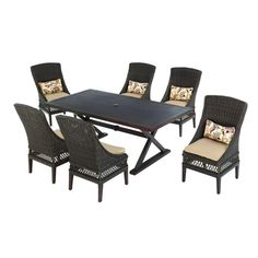Hampton Bay Woodbury 7-Piece Patio Dining Set with Textured Sand Cushions-D9127-7PC - The Home Depot