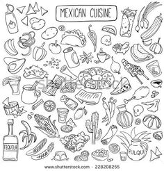 Set of doodles, hand drawn rough simple mexican cuisine food sketches. Isolated on white background