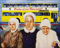 """""""Kampfomas"""" 36x38"""" acrylic on canvas. Leisa Shannon Corbett During my early years living in Berlin, Germany, I noticed feisty old ladies on the public transportation who would hit impolite young people with their canes or umbrellas. If they tripped or fell when the bus lurched forward, they seemed embarrassed when some kind person helped them to their feet. I figured out they must be the tough women who picked up all the rubble in Berlin after World War II."""