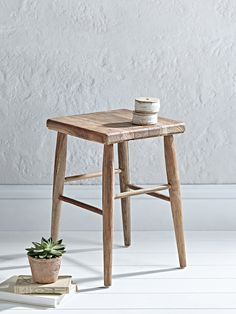 Crafted from 100% reclaimed teak wood, our charming low stool has a simple square seat and four tapered legs with different height rungs. Each stool has a rustic textured finish due to the reclaimed nature of the teak, with visible knots and wood grains running through the stool. Perfect for your dressing room, hallway or kitchen space, this small stool is functional and stylish too.