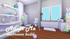 Bathroom Build ~ Adopt Me Build Hacks Cute Bathroom Ideas, Cute Room Ideas, Beautiful Bathrooms, Modern Bathroom, My Home Design, House Design, Small Home Theaters, Modern Home Bar, Futuristic Home