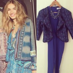 Get the trend in our blue statement jacket and jumpsuit!