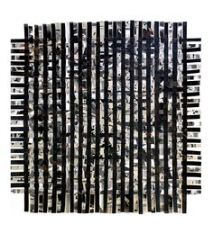 Large Black White Weaving- Original Woven Abstract Mixed Media Collage- 23x23- Contemporary Upcycled Art. $170.00, via Etsy.