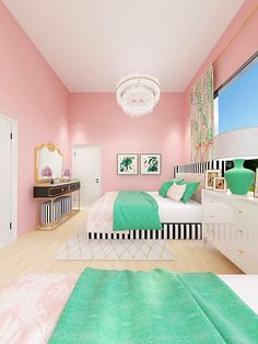 Palm Beach Teen Bedroom: Shared teen bedroom inspired by Palm Beach; green and pink tropical print glam eDesign project Grown Up Bedroom, Bedroom Green, Girls Bedroom, Bedroom Decor, Teen Bedroom Colors, Blue Bedrooms, Bedroom Ideas, Palm Beach, Tropical Bedrooms