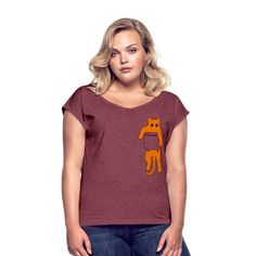 Geschenke Shop   Katze in Tscherl rot - Frauen T-Shirt mit gerollten Ärmeln Shirt Diy, Shirt Shop, Dress Down Day, Boyfriend Style, Daily Fashion, Lady, Bordeaux, Fabric Weights, Heather Grey