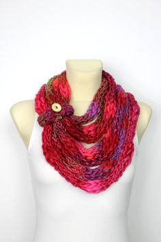 Knit Infinity Scarf - Winter Thick Scarf - Bulky Knit Scarf - Chunky Chain Scarf - Womens Knit Infinity Finger Knit Scarf Unique Knit Scarf