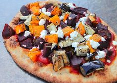 Fall Harvest Pizza - goat cheese and, naan bread, beets. So simple and totally delicious.