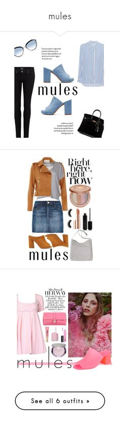 """""""mules"""" by smillafrilla ❤ liked on Polyvore featuring Robert Clergerie, Paige Denim, Karl Lagerfeld, iHeart, Hermès, Miss Selfridge, Frame, River Island, Acne Studios and Marc Jacobs"""