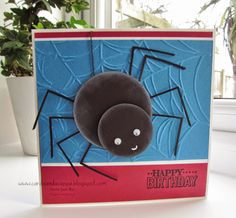 A Special Birthday Card with a Tutorial for the Punch Art Spider Included Boy Cards, Kids Cards, Cute Cards, Special Birthday Cards, Birthday Cards For Men, Halloween Birthday, Halloween Cards, Spider Card, Happy Birthday Boy