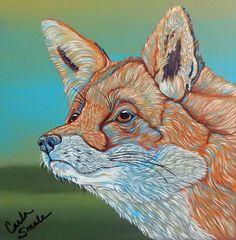 Rainbow Red Fox Wildlife Art Original 10 x 10 Canvas Painting-Carla Smale #Realism
