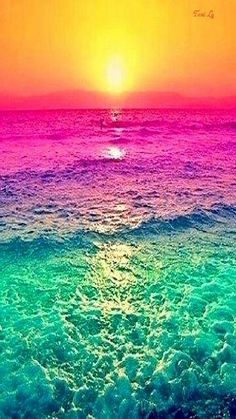 """Sunset with the water's colours altered. It seems like it was simply done using a photo-editing program or something but still it looks neat. It definitely adds a different """"definition"""" to it than it would a regular sunset. Nature Wallpaper, Wallpaper Backgrounds, Galaxy Wallpaper, Summer Wallpaper, Mobile Wallpaper, Colorful Backgrounds, Waves Wallpaper, Trendy Wallpaper, Colorful Wallpaper"""