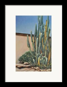 df36df3a4e Figurative Framed Print featuring the painting Cactus In The Garden by Alla  Gorelik