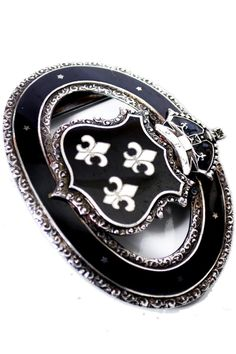 Antique Sterling Silver Enamel Belt Buckle