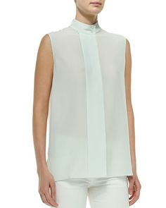 B2TH5 THE ROW Front-Pleat Sleeveless Blouse