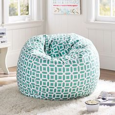 "Pool Peyton Beanbag, $189, PB Teen. ""Every kid that I have done a room for has wanted a bean bag chair. Sometimes it can't fit into the plan, but they all want one."""