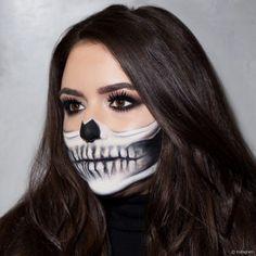 halloween schminken frauen, haarfarbe mahagonni, halber totenkopf make up