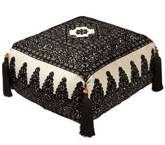Moroccan Poufs Linen Embroidery