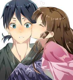 Sango gives Miroku a kiss on his cheek from Inuyasha Inuyasha E Kagome, Amor Inuyasha, Inuyasha Fan Art, Inuyasha Love, Miroku, Manga Art, Anime Manga, Anime Art, Anime Kiss