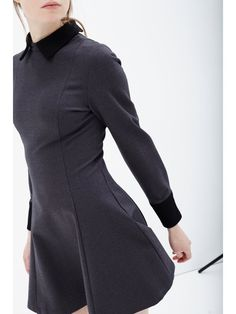 Grey & Black Structured Long Sleeve Collar Cuff Dress