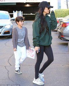Art day: Kourtney Kardashian was in Calabasas, California on Tuesday with her seven-year-o...