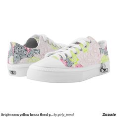 Bright neon yellow henna floral paisley pattern printed shoes