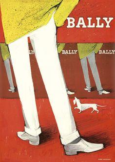 POSTER BALLY WOMEN MEN SHOES LEGS KICKING BALL FASHION VINTAGE REPRO FREE S//H