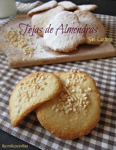 Unas de las pastas para el café que están más ricas: tejas de almendras Coconut Cookies, Lemon Cookies Easy, Small Cake, Xmas Food, Cookie Desserts, Brownie Cookies, Healthy Desserts, Delicious Desserts, Snack Recipes