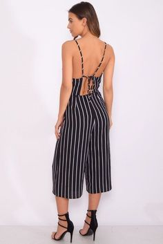 65d71b8eb3fe Rare London Black Strappy Stripe Jumpsuit Size Small UK 8 rrp 35 DH088 OO  01