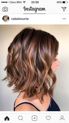 Balayage, Curly Lob Hairstyles - Shoulder Length Hair Cuts for Women and Girls Eyebrow Makeup Tips Brown Balayage, Hair Color Balayage, Balayage Lob, Short Balayage, Balayage Brunette, Blonde Ombre, Balayage Hairstyle, Ombre Bob, Blonde Hair