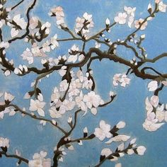 Almond Branches in Bloom (Section) by Vincent van Gogh #Beautiful #Handmade #Silk #Embroidery #Art 36132 http://www.queensilkart.com/100-handmade-embroidery-framed-flower-floral-silk-almond-branches-in-bloom-van-gogh-36132 For the birth of his namesake nephew, van Gogh painted a gift for the new parents to hang over their bed. The uncharacteristic composition was meant to convey the joy of looking up at a clear blue sky through the beauty of flowering branches.