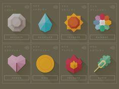 Flat shadowed icons inspired by Pokémon Gym Badges by Andrew Kapish Web Design, Icon Design, Graphic Design, Flat Design, Pokemon Gym Badges, Badge Icon, Geometric Logo, Badge Design, Game Art