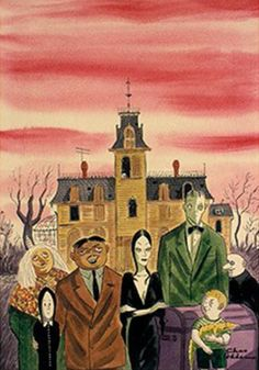 Charles Addams first introduced the world to his Addams Family in a cartoon in a 1938 issue of The New Yorker magazine. Seen here are Grandma Frump, Wednesday, Gomez, Morticia, Lurch, Pugsley and Uncle Fester.