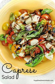 I LOVE making this Caprese Salad. It's so easy and great to take to a summer potluck. We had a summer get together the other day with our Bible study and it was a big hit..