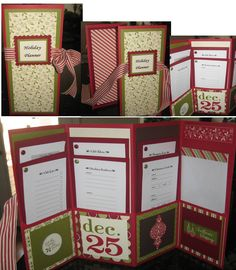 """HOLIDAY PLANNER - A holiday planner to keep you on track with all your holiday shopping & activities.  Use a regular 2 pocket school folder and fold each side in half. (folds going opposite way to create the folds)  Individual """"to do list"""" can be found on OrganizeChristmas.com.   Pocket organizer includes an envelope on the right hand side to keep all of your shopping receipts. It was a fun an easy project to make. Paper and stamps by Stamp In Up."""
