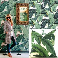 Aloha! Pinterest Tropical Print Trend | Tapete: Martinique Banana Leaf von Don Loper. Kissen: Tropical Leaf Decorative Pillow