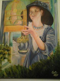 Oleo sobre tela mulher com gaiola