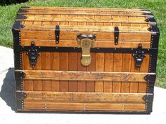 Vintage Trunks, Antique Trunks, Strap Hinges, Steamer Trunk, Trunks And Chests, Four Corners, Interior Trim, Stitching Leather, Woodworking Shop