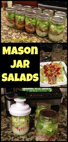 Mason Jar Salads that stay fresh for more than 7 DAYS with these tricks!!! #CleanEating #HealthyRecipes