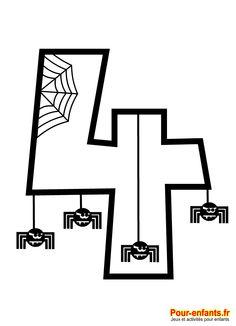 Halloween. Le chiffre 4 à imprimer en grand. Photo Halloween, Halloween Crossword Puzzles, Kid Halloween