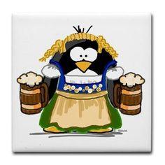 Oktoberfest Girl Penguin Tile Coaster