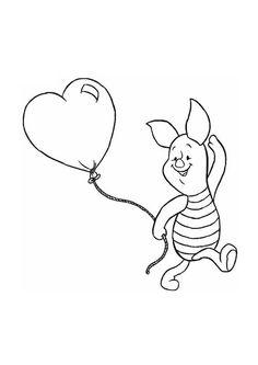 Winnie de Poeh - knorretje met een hartjes ballon